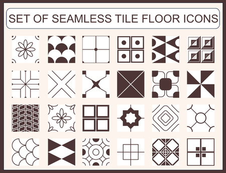 tile floor: Collection of seamless tile floor icons Illustration