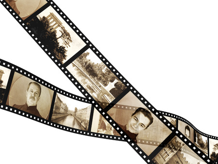 in memory: Memories - retro photo with filmstrip. Isolated on white background. 3d render