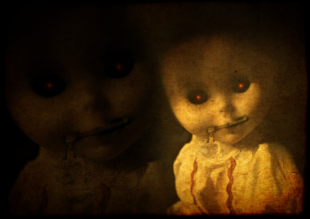 Grunge background with old paper texture and vintage evil spooky doll with zipped mouth
