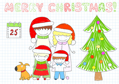 Happy family - mom, dad and two children, dog and Christmas tree. Sketch on notebook page in doodle style