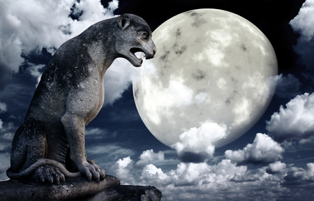 ancient lion: Ancient lion statue and bright moon in the night sky. Stock Photo
