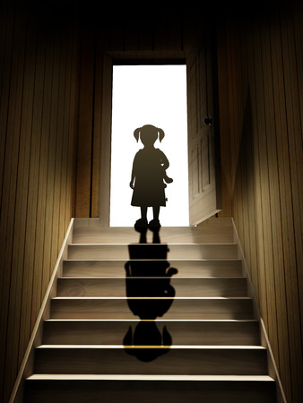 girl shadow: Little girl on steps leading from a dark basement to open the door. 3d render