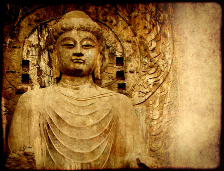wei: Grunge background with old paper texture and Buddhas statue, Longmen Grottoes, Luoyang, China