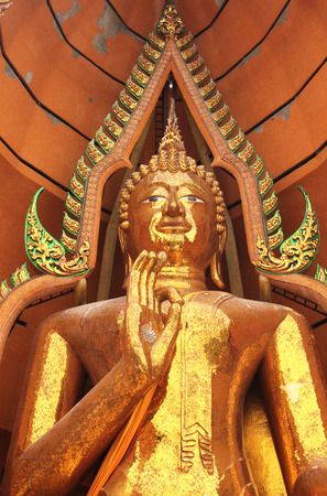 adore: Golden Buddha statue at Tiger Cave Temple (Wat Tham Suea), Kanchanaburi province, Thailand