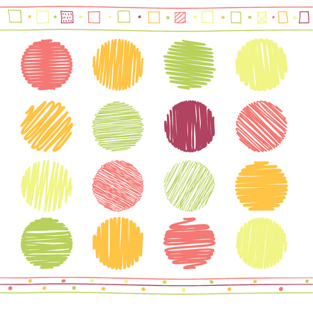 collection red: Vector collection of retro scribbled circular lines with hand drawn style of green, red and yellow color