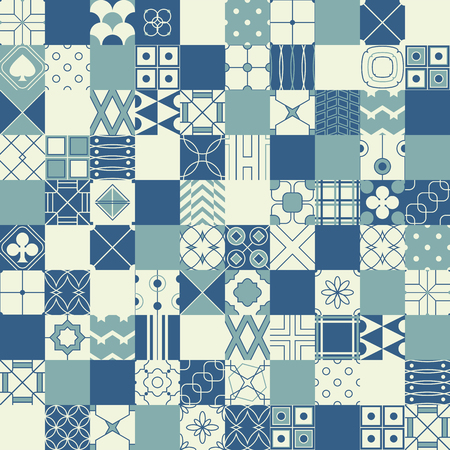 textile texture: Seamless vector background in patchwork style with geometric patterns (tiling) of blue and ivory color. Endless texture can be used for pattern fills, web page background, surface and textile textures, wallpaper Illustration