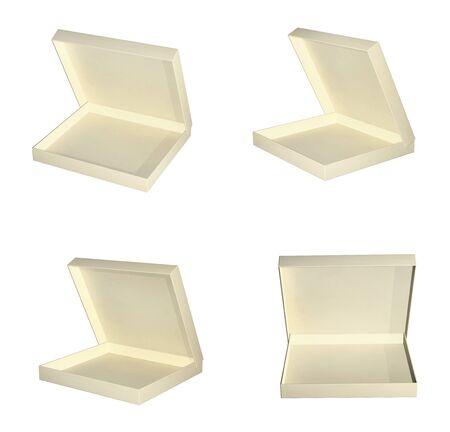 Set of open empty cardboard boxes. 3d render Stock Photo