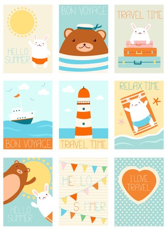 travel backgrounds: Collection of travel banners, backgrounds, flyers, placards in hand drawn style with cute bear and bunny. Holiday posters for scrapbooking. Vacation vector template cards for greeting, decoration, congratulation, invitation in retro colors