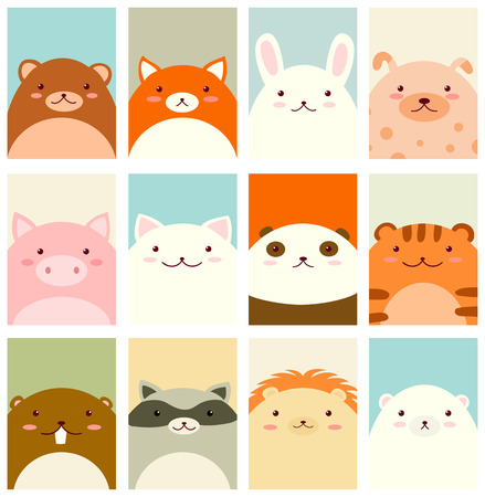 Banners, backgrounds, flyers, placards in hand drawn style with cute animals. Bear, fox, rabbit, dog, pig, cat, panda, tiger, beaver, raccoon, lion, polar bear. Holiday poster for scrapbooking. Vector template card for greeting, decoration, congratulation