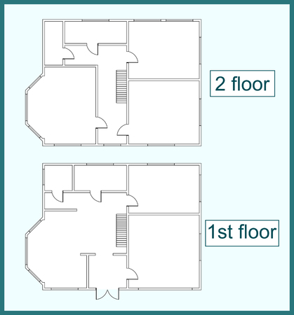 second floor: Abstract vector plan of the first and second floors of a two-storey house