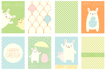 Collection of Easter banner, background, placard in hand drawn style with cute rabbits. Easter poster set for scrapbooking. Vector template card for greeting, decoration, congratulation in retro pastel color