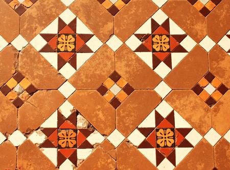 Old tiled floor in Shwedagon Zedi Daw (Great Dagon Pagoda, Golden Pagoda), Yangon, Myanmar Stock Photo