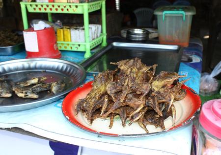 exotic food: Exotic food fried rat, Myanmar (Burma) Stock Photo