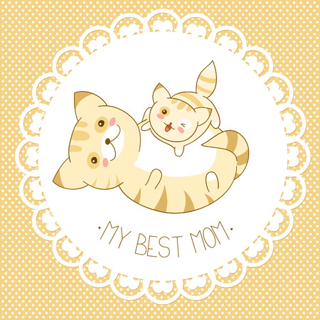 My best mom. Vector background with cute cats in kawaii style and dots pattern. Mothers day card. Banner, placard, holiday poster for scrapbooking, greeting, decoration, congratulation, invitation in retro pastel colors