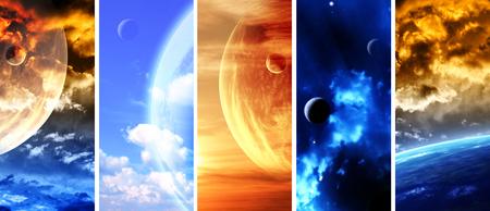 Set di banner spazio verticale con pianeti, nebulose e stelle. Elementi di questa immagini fornite dalla NASA