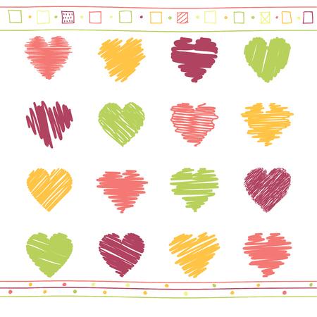 Vector collection of scribbled valentine hearts with hand drawn style of red, orange and green color