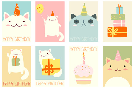 Collection of birthday banner, background, flyer, placard with cute cats. Birthday poster set for scrapbooking. Vector template card for greeting, decorations, congratulations in retro pastel color