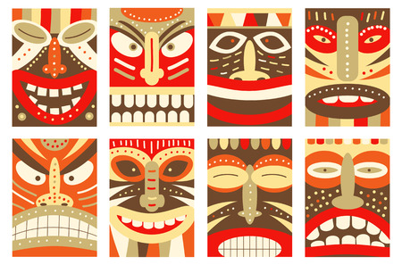 polynesian ethnicity: Collection banner, background, flyer, placard with tiki tribal mask. Set for scrapbooking. Vector template card for greeting, decorations, congratulations in retro green, red, yellow and orange color