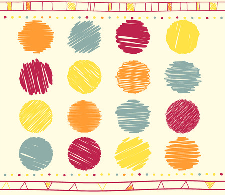 Vector collection of retro scribbled circular lines with hand drawn style of gray, red and yellow color Illustration