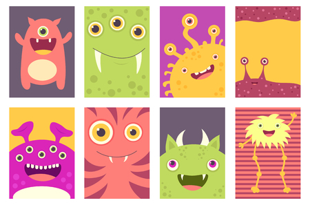 Collection of banner, background, flyer, placard with cute monsters. Birthday poster set for scrapbooking. Vector template card for greeting, decorations, congratulations in retro pastel color