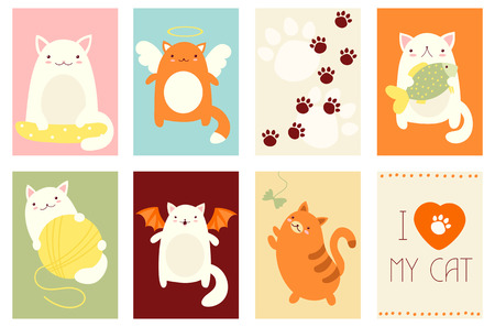 catling: Banner, background, flyer, placard in hand drawn style with cute cats. Holiday poster for scrapbooking. Vector template card for greeting, decoration, congratulation, invitation in retro pastel colors Illustration