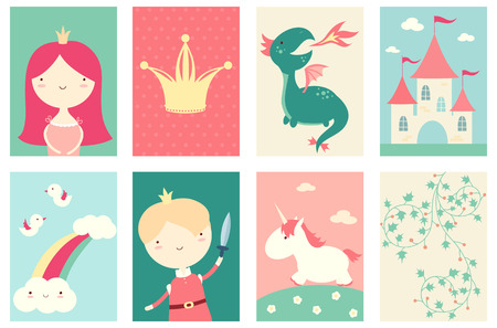 Collection of banner, background, flyer, placard with cute princess, prince, dragon, unicorn. Poster set for scrapbooking. Vector template card for greeting, decoration, congratulation in retro color
