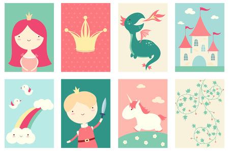 Inzameling van banner, achtergrond, vlieger, aanplakbiljet met leuke prinses, prins, draak, eenhoorn. Poster set voor scrapbooking. Vectormalplaatjekaart voor groet, decoratie, gelukwens in retro kleur