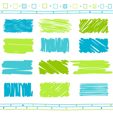Vector collection of retro scribbled lines with hand drawn style of green and blue color Illustration