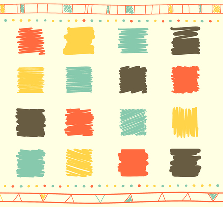 collection red: Vector collection of retro scribbled square elements in hand drawn style of of yellow, gray, green and red color Illustration