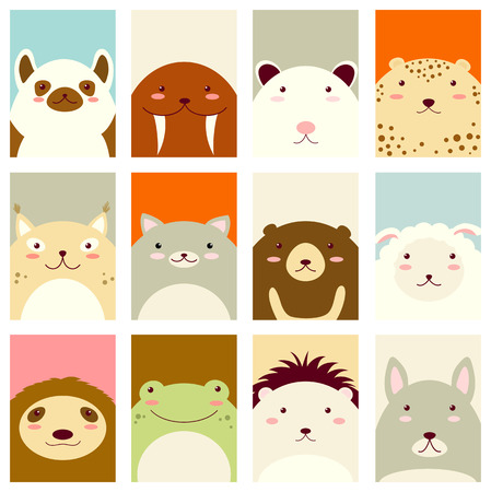 possum: Banners, backgrounds, flyers, placards in hand drawn style with cute animals. Poster for scrapbooking. Vector template card for greeting, decoration, congratulation, invitation in retro pastel colors Illustration