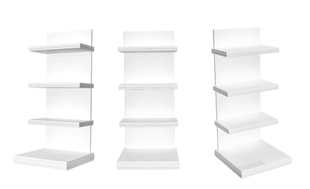 render: Collection of showcases. View from different angles. Objects isolated on white background. 3d render Stock Photo