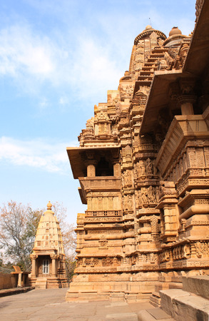kamasutra: Lakshmana temple, built by Chandela Rajputs, is situated in the Western Group of temples (Temples of love), Khajuraho, Madhya Pradesh, India. Unesco World Heritage Site