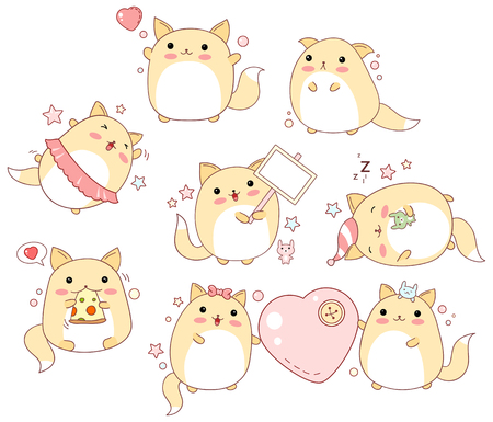 Collection of cute cats with different emotions Illustration