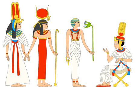 ancient civilization: Vector collection egyptian female characters - goddess Isis and queen
