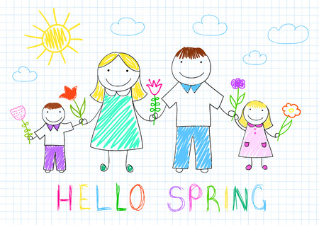 Hello spring. Happy family - mother, father, son, daughter with flowers. Vector sketch on notebook page on doodle style