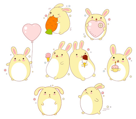 Collection of cute rabbits with different emotions in kawaii style