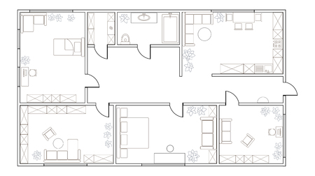 kitchen furniture: Abstract vector plan of two-bedroom apartment, with kitchen, bathroom, childrens room, bedroom, living room, dining room, library Illustration