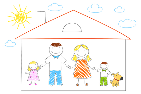 Happy family in new house. Sketch in doodle style. ESP8