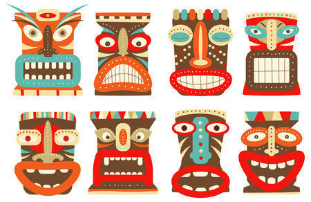 exoticism: Collection of tiki tribal mask. Set for scrapbooking. Vector template mask for greeting, decorations, congratulations in retro green, red, blue, yellow and orange color. ESP8