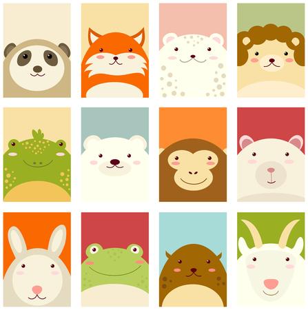 Banners, achtergronden, flyers, plakkaarten in hand getekende stijl met schattige dieren. Poster voor scrapbooking. Vector sjabloon kaart voor groet, decoratie, felicitatie, uitnodiging in retro pastelkleuren