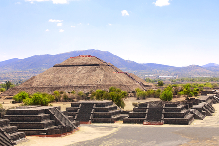 towards: View from the Pyramid of Moon towards the Pyramid of Sun and Avenue of Dead, Teotihuacan ancient historic city, Mexico, North America. UNESCO world heritage site