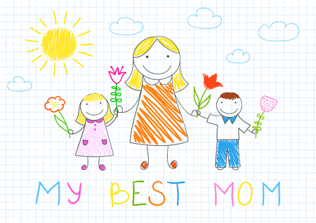 My best mom. Happy family - mother, her son and daughter with flowers. Vector sketch on notebook page on doodle style. Mothers day Иллюстрация