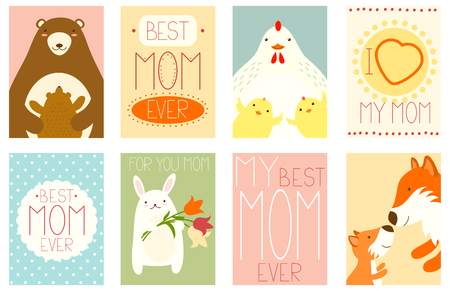 Best mom ever. Collection of banner, placard with cute animals - bear, rabbit, fox and chicken. Vector template card for Mother's day greeting, decoration, congratulation