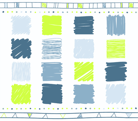 Vector collection of retro scribbled lines with hand drawn style of green, gray and blue color Illustration