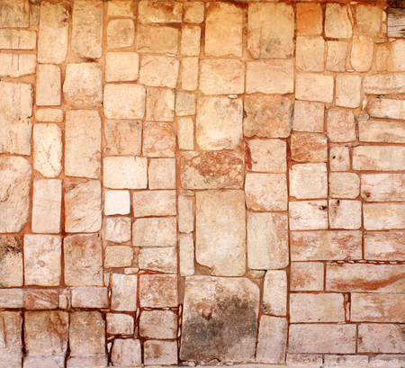 surface level: Ancient wall of stone blocks in Uxmal, Yucatan, Mexico