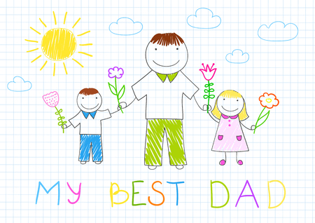 two child: My best dad. Happy family - father, her son and daughter with flowers. Vector sketch on notebook page on doodle style. Fathers day