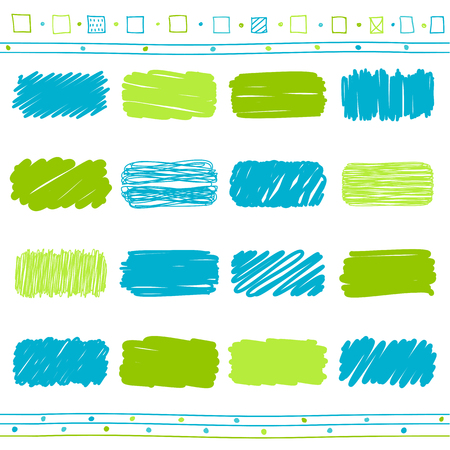 Vector collection of retro scribbled lines with hand drawn style of green, dark blue and blue color
