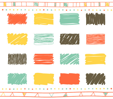 Vector collection of retro scribbled square elements in hand drawn style of of yellow, gray, green and red color Illustration
