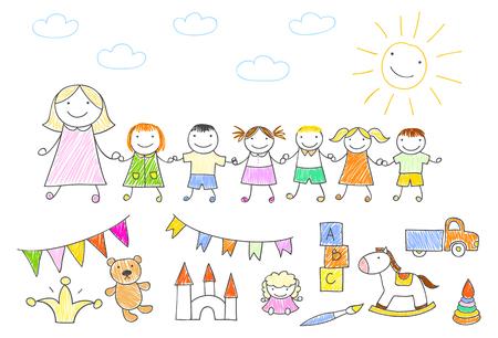 Vector illustration with happy pupils and teacher. Kindergarten teacher walking outdoor with kids holding hands. Sketch in doodle style