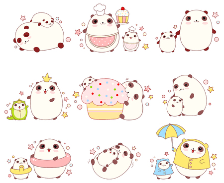 shef: Collection of cute pandas with cubs in different situations (sleeping, eating, bathing, walking outdoor) and costumes (chef, king, dragon), in kawaii style. EPS8